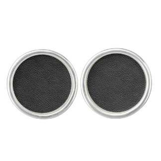 Faux Black Leather Cuff Links