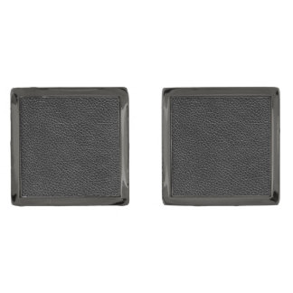 Faux Black Leather Gunmetal Finish Cuff Links