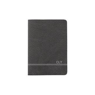 Faux Black Leather Monogram Light Grey Bar Passport Holder