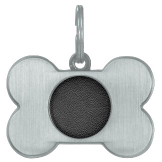 Faux Black Leather Pet Name Tag