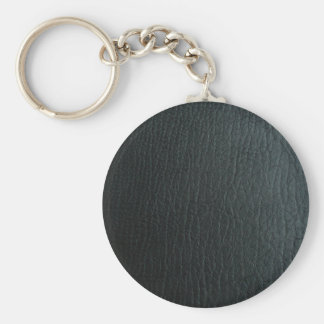 Faux Black Leather Texture Basic Round Button Key Ring