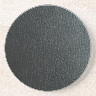 Faux Black Leather Texture Coaster