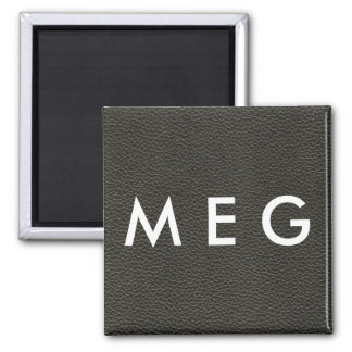 Faux Black Leather Texture Square Magnet