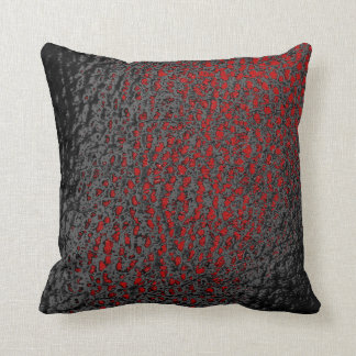 Faux Black & Red Leather Design Cushion
