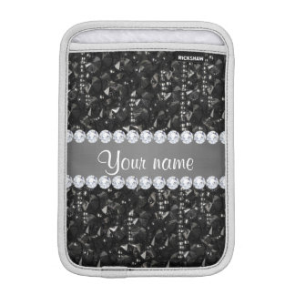 Faux Black Sequins and Diamonds iPad Mini Sleeves