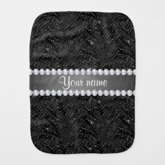 Faux Black Sequins Sparkles and Diamonds Burp Cloths