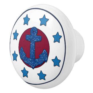Faux Blue Glitter Anchor | Blue Stars Nautical Ceramic Knob