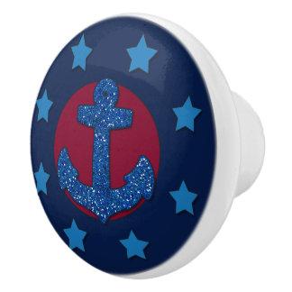 Faux Blue Glitter Anchor | Nautical Ceramic Knob