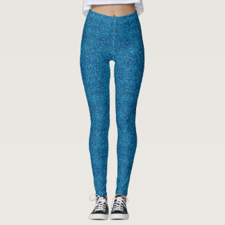 Faux Blue Glitter And Glamour Leggings