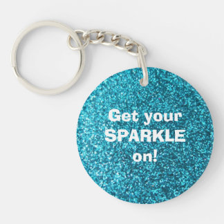 Faux Blue Glitter Double-Sided Round Acrylic Key Ring