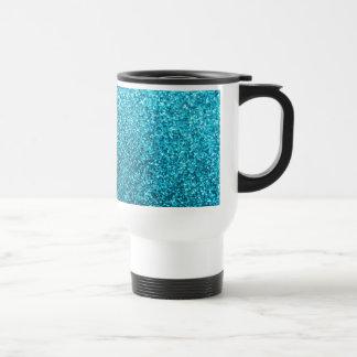 Faux Blue Glitter Stainless Steel Travel Mug