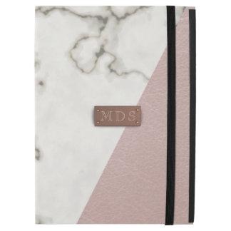 Faux Blush Pink Marble iPad Pro Case 3D Monogram