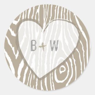 Faux Bois Wedding Sticker - Customizable