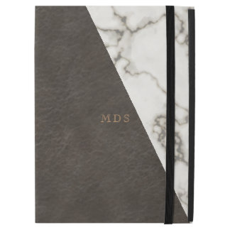 Faux Brown Leather Modern Marble iPad Pro Case