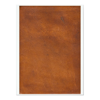 Faux Brown Leather Texture Custom Invite