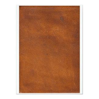 Faux Brown Leather Texture 17 Cm X 22 Cm Invitation Card