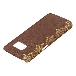 Faux Brown Vintage Leather Gold Floral Border No.4