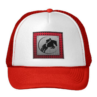 Faux Brushed Aluminum Equestrian Trucker Hats