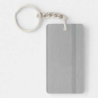 Faux Brushed Metal with Groove Double-Sided Rectangular Acrylic Key Ring