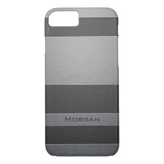 Faux Brushed Steel - Add Your Name iPhone 8/7 Case