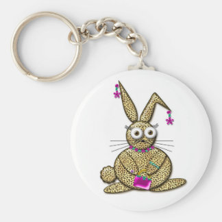 FAUX BUNNY BASIC ROUND BUTTON KEY RING