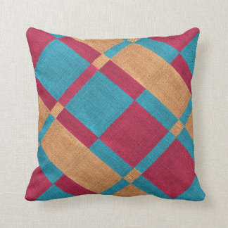 Faux Burlap Colourful Pattern Blocks Cushion