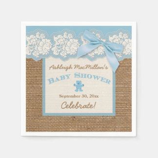FAUX Burlap Ivory Lace, Blue Baby Shower Napkins Disposable Napkin