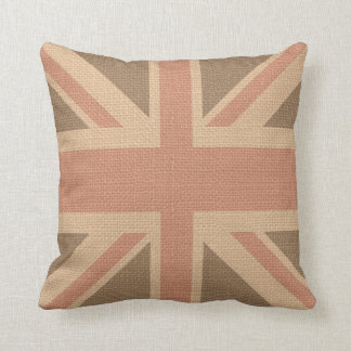 Faux Burlap Jute Linen Look UK Flag Throw Pillows