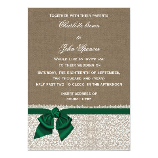 FAUX burlap, lace and emerald green ribbon invites