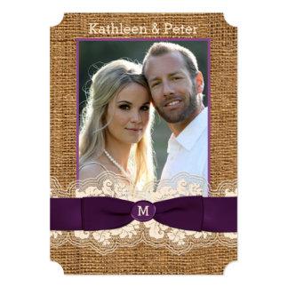 FAUX Burlap Lace Bow PHOTO Wedding Invite, Purple
