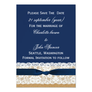 FAUX Burlap lace Rustic save the Date Card