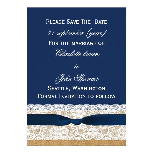 FAUX Burlap lace Rustic save the Date Invitations