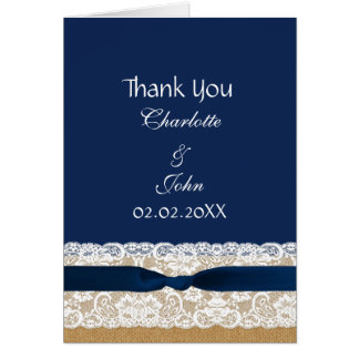 FAUX burlap lace, rustic wedding Thank You Greeting Card