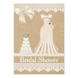 Faux Burlap Lace Wedding Bridal Shower Invitation