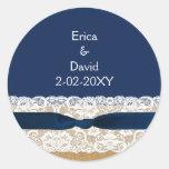 FAUX burlap lace wedding favour stickers