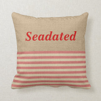 Faux Burlap Nautical Pillow Red stripes Monogram