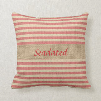 Faux Burlap Nautical Pillow with Red Stripes