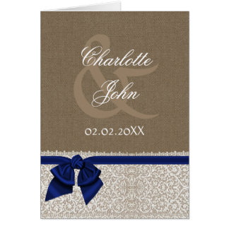 FAUX burlap, navy blue and white lace Thank You Card