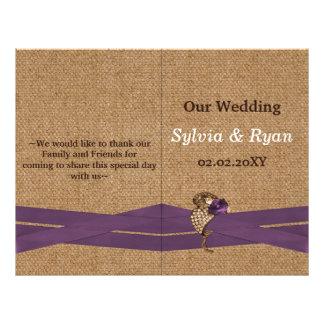 FAUX burlap ,purple brooch bi fold Wedding program 21.5 Cm X 28 Cm Flyer