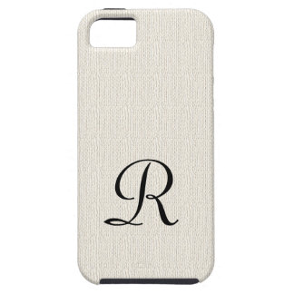 Faux Burlap Rustic Monogram iPhone SE, 5, 5S Case