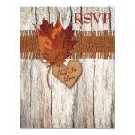 FAUX Burlap Wood Leaves Heart Wedding Reply Card 11 Cm X 14 Cm Invitation Card
