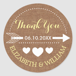 Faux Burlap & Yellow Wedding Thank You Arrow Heart Round Sticker