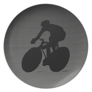 Faux Carbon Fiber Cycling Dinner Plate