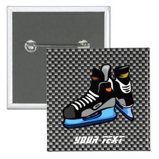 Faux Carbon Fiber Hockey Skates Pinback Button