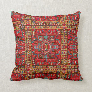 Faux Carpet: Repeat Print Section of Oriental Rug Throw Pillow
