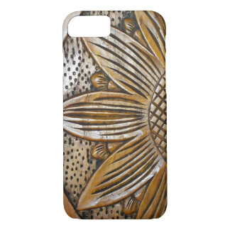 Faux Carved Wooded Texture Sunflower Carving iPhone 8/7 Case