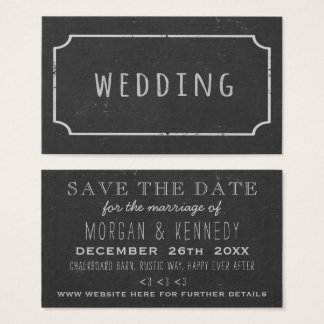 Faux Chalk Frame Chalkboard Wedding Save The Date Business Card
