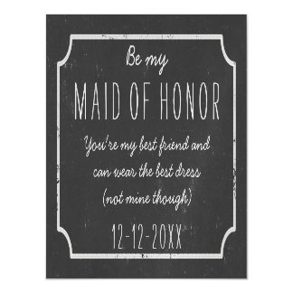 Faux Chalkboard Framed Be My Maid of Honor Request Magnetic Invitations