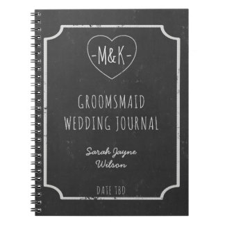 Faux Chalkboard Framed Groomsmaid Wedding Journal