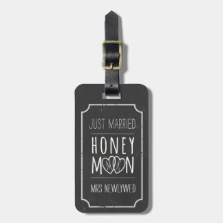 Faux Chalkboard Just Married Honeymoon Bag Tag
